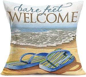 SmilyardCoastal Decor Throw Pillow Covers Ocean Beach Theme Flip-Flops Pillow Cover Cotton Linen Welcome Bare Feet Words Pillow Case Cushion Cover Outdoor Decor for Sofa Bed 18x18 Inch (BFW 18)