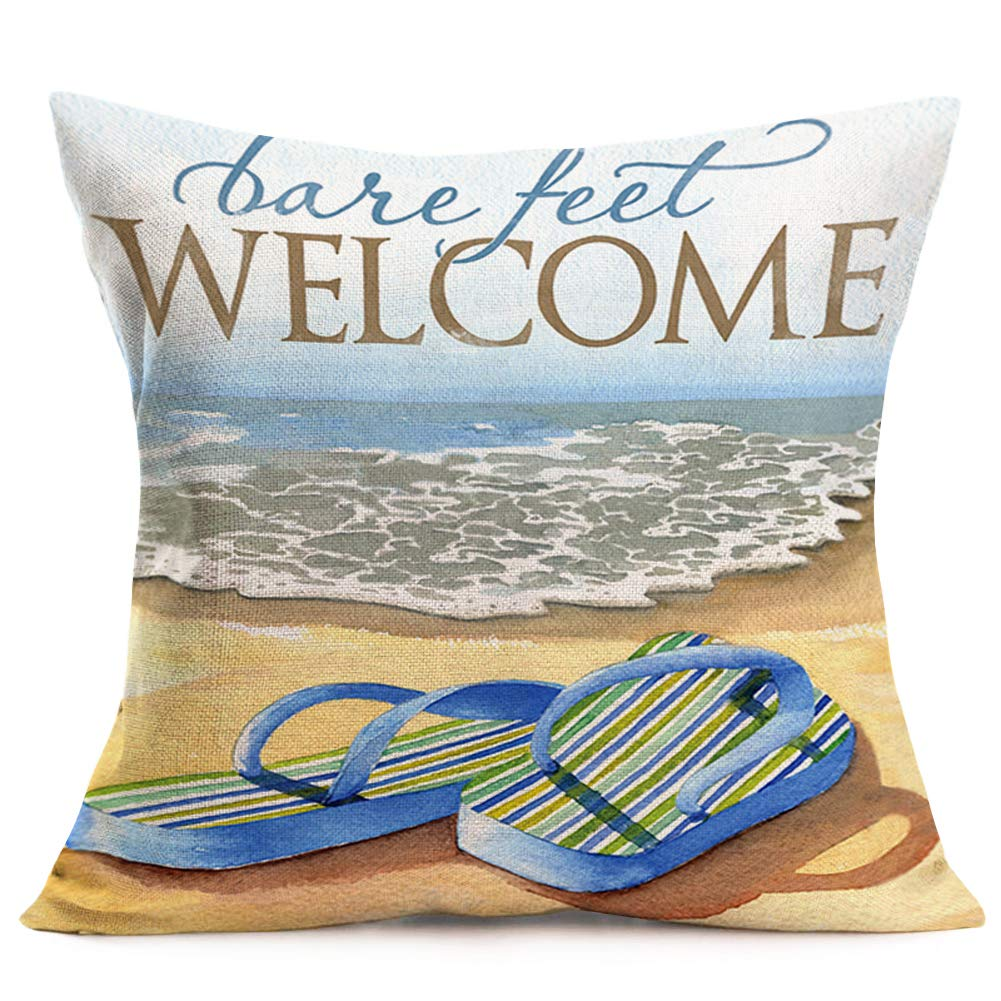 ShareJ Welcome to Coastal Decorative Pillow Covers Ocean Beach Theme Bare Feet Flip-Flops Pillow Cases Cotton Linen with Words Cushion Cover Outdoor Decor 18x18 Inch Pillow Shams