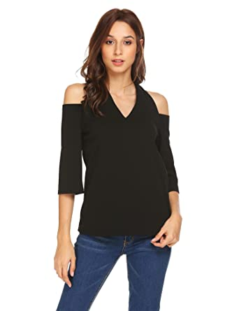 ee78ac18febfb Grabsa Women s V-Neck Cold Shoulder 3 4 Sleeve Solid Casual Blouse Top Black