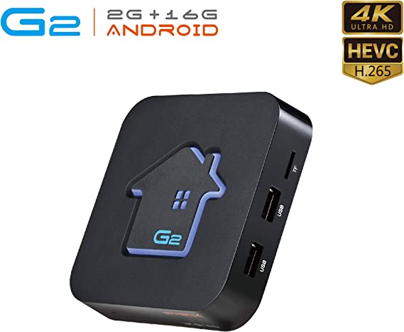 Android TV Box 7.1.2, GT MEDIA G2 Android Smart TV Box Quad-Core【2GB +16GB】, 3D 4K H.265 WiFi 2.4Ghz Ethernet USB 2.0, Soporte Dolby HDMI DLNA Netflix Xtream Stalker Widevine GT Player: Amazon.es: