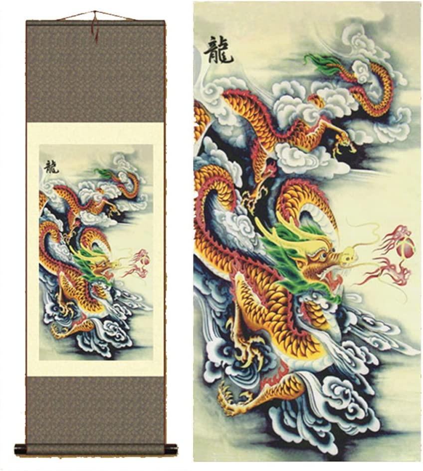 Sunmir TM Silk scroll painting chinese dragon painting