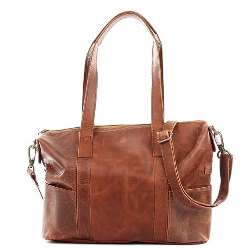 LECONI Shopper Vintage Look Damen Henkeltasche Schultertasche Echt Leder Natur Damentasche Ledertasche Umhängetasche Handtasche Leder 37x28x15cm