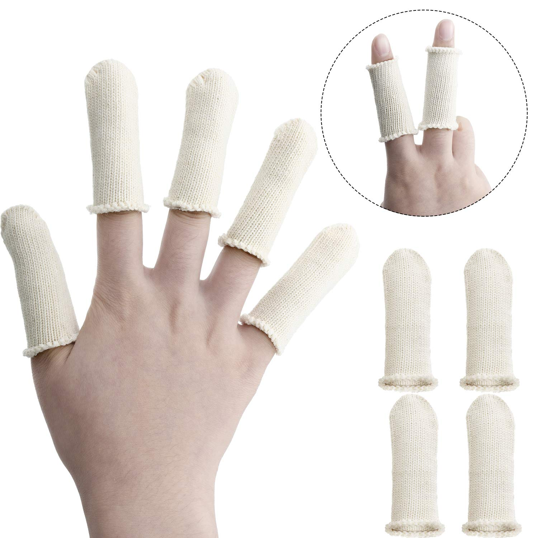 Tatuo 50 Packs Finger Cots Cotton Finger Guards Elastic Finger Protection