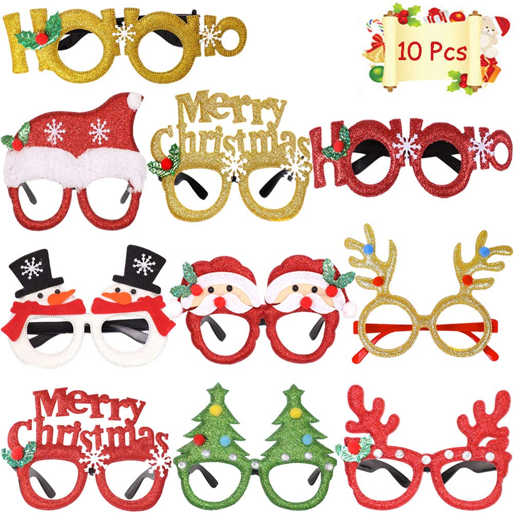 Christmas Party Favors Glasses Frames Party Supplies Eyeglass Frames Xmas Holiday Decorations Glass Frame Cute Eyewear Frames  Assorted Styles  10 PCS