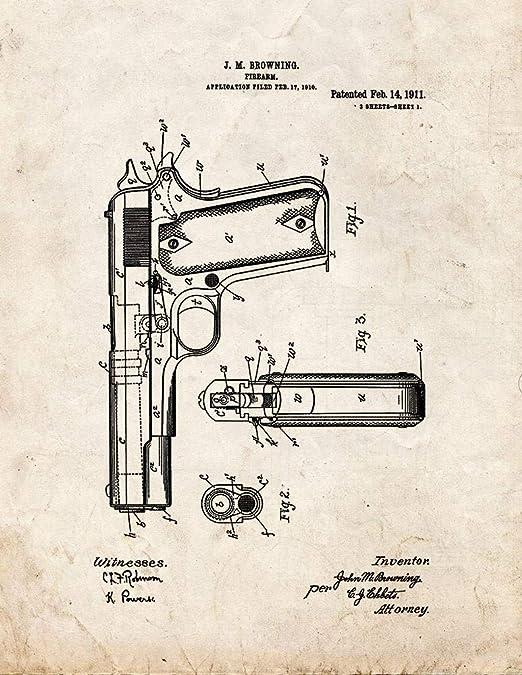 Glock 17 Gun Patent Print Old Look