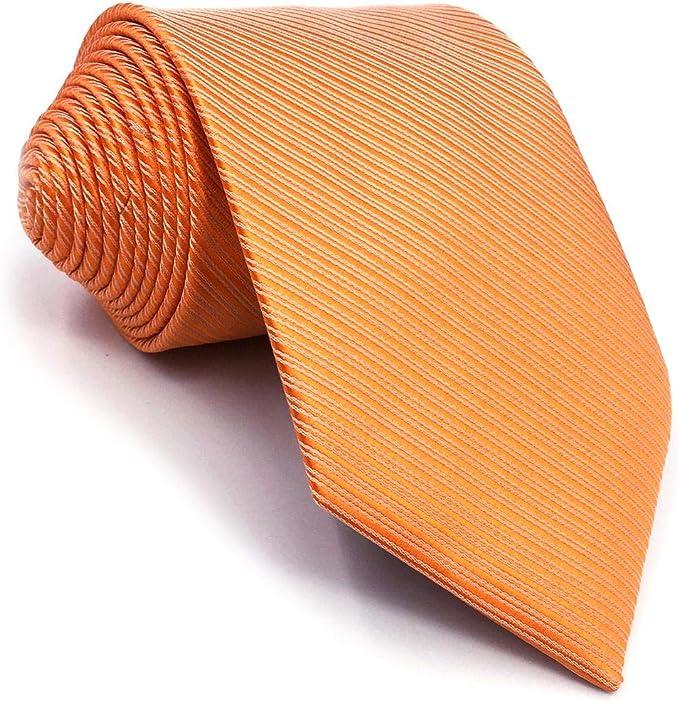 S&W SHLAX&WING Color Sólido Naranja Corbatas Para Hombre Seda ...
