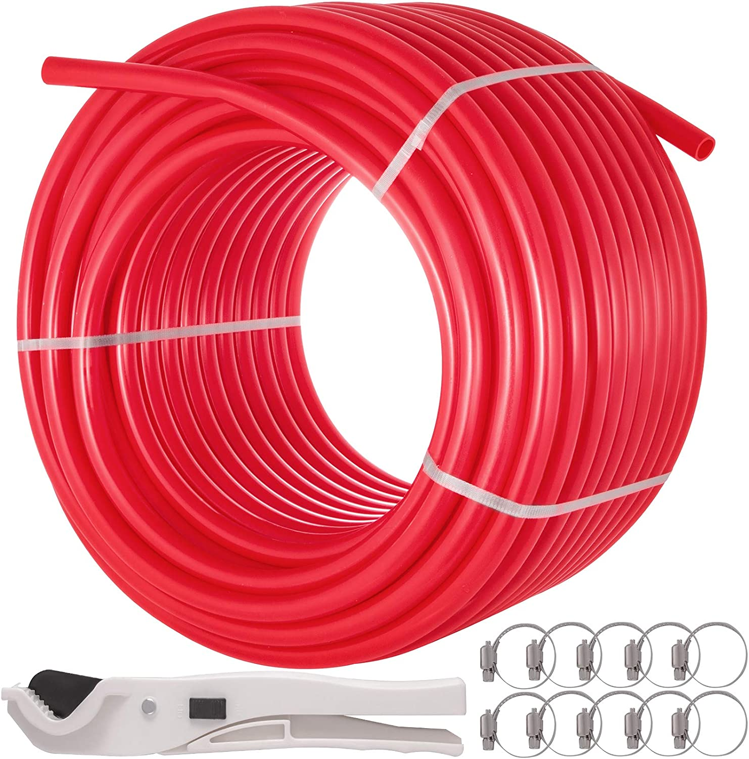 Happybuy 5/8 Inch x 500Ft PEX Tubing Oxygen Barrier O2 EVOH Pex-B Red Radiant Floor Heat Durable Plumbing Flexible for Residential Commercial Radiant Floor Heating Pex Pipe