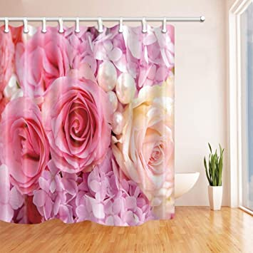 SZZWY Romantic Gift Flower And Pearl Shower Curtain In Bath 69X70 Inches Mildew Resistant Polyester Fabric