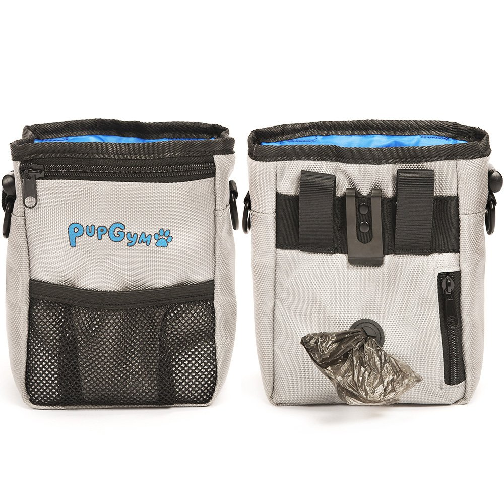 PupGym Dog Treat Pouch and Training Bag for Carrying Treats and Pet Toys with Poop Bag Dispenser, Reflective Shoulder Strap and Zippered Pockets – Includes 1 Roll of Waste Bags