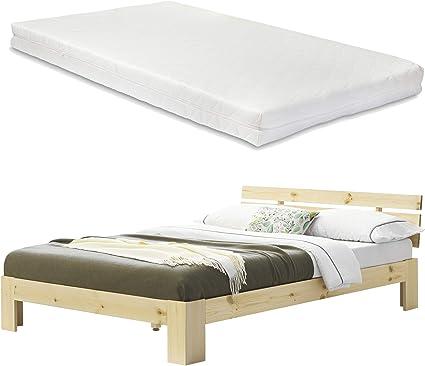 [en.casa] Cama de Pino con colchón Cama Doble Cama Matrimonio 180x200 cm con Listones Somier Madera Natural