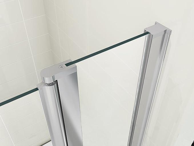 Mampara Doble para Bañera Marca HNNHOME - Estilo Vela, Rotación de 180º - Cristal de 6 mm, con Toallero: Amazon.es: Hogar