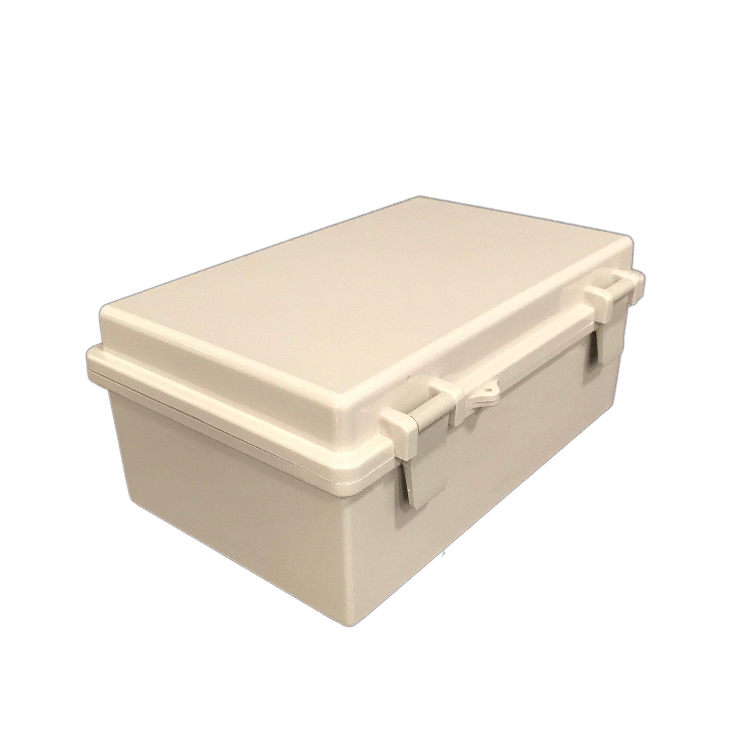 BUD Industries NBB-22241 Style B Plastic NEMA Box with Solid Indoor, 10-23/32'' Length x 6-25/32'' Width x 4-21/64'' Height, Light Gray Finish