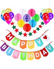 Happy Birthday Banner, Gyvazla Birthday Party Decorations Favors with 8 Pack Honeycomb Paper Balls and 12 Colorful Party Balloons1 Colorful Start-shape Pull Flowers Party Supplies (Multicolor)