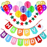 Birthday Decoration Supplies, Aitesco Happy Birthday Banner with 8 Pack Honeycomb Paper Balls and 12 Colorful Party Balloons,1 Colorful Start-shape Pull Flowers, Party Supplies (Multicolor)