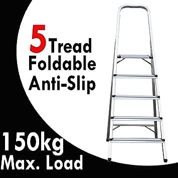 Multi-Purpose 5 Step Ladder Folding Portable Aluminum 150KG Max Load Capacity