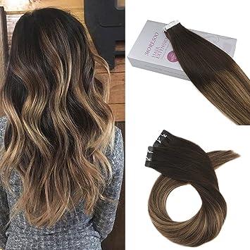 Moresoo 24zoll Tape In Human Hair Extensions Balayage Schwarz To Dark Braun Highlighted With Caramel Blond Glatt Brasilianer Remy Haar Glue In
