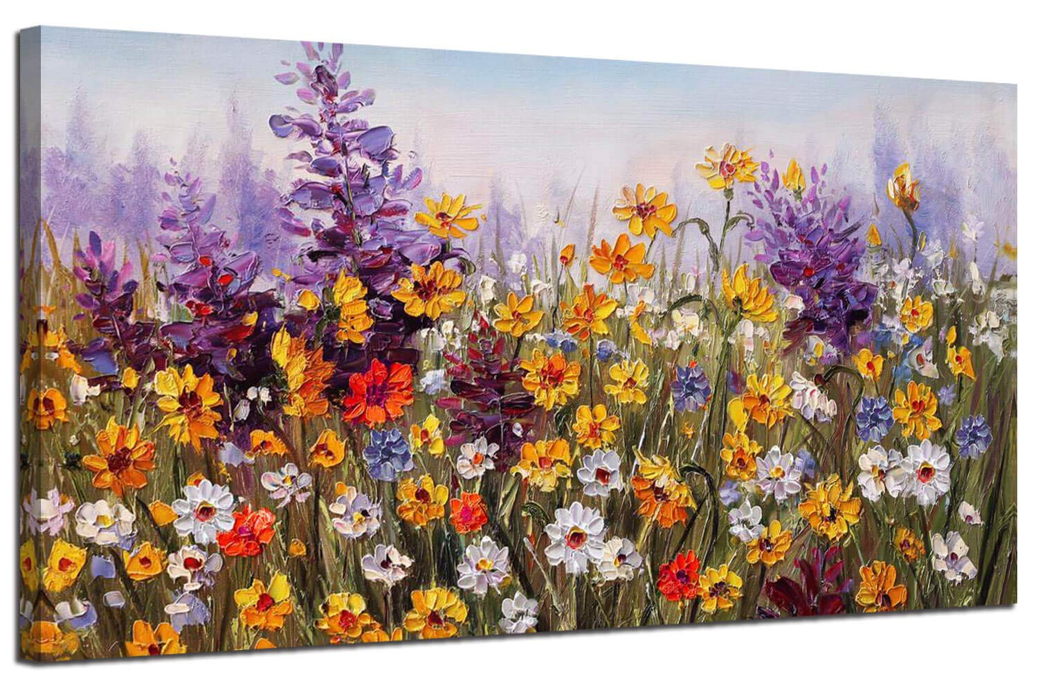 Ardemy Canvas Wall Art Daisy Colorful Bloosom Yellow Flowers Artwork Painting Prints Modern Picture Framed Ready to Hang for Living Room Bedroom Kitchen Office Home Decorations-40inx20in