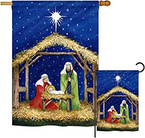 Breeze Decor FK114214-BO Jesus Winter Nativity Decorative Vertical Flags Kit, House & Garden Set w/Flagpole, Multi-Color