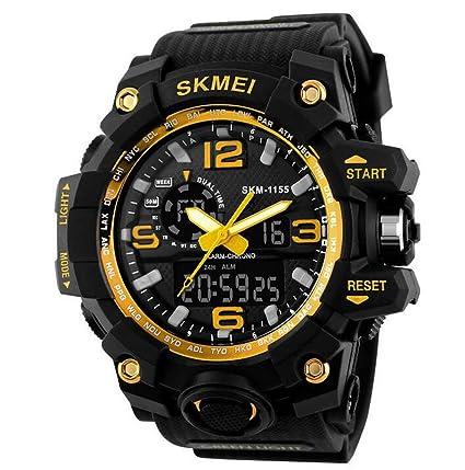OUMOSI - Reloj de pulsera para Hombres, diseño Militar, LED, Digitales