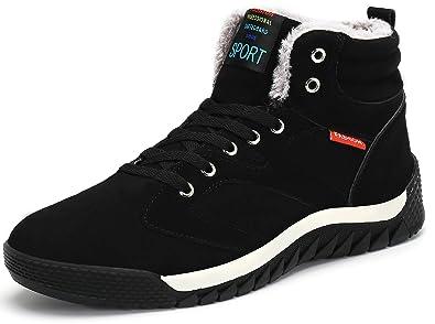 80cbc58a1dbb katliu Herren Hoch Sneakers Winter Gefütterte Halbstiefel Warm Sportlicher  Winterschuhe,Schwarz 38