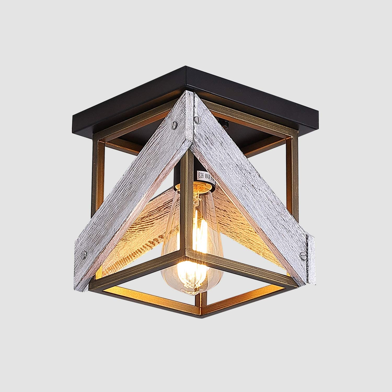 Black Rustic Farmhouse Flush Mount Light Fixture Two Light Metal And Wood Square Flush Mount Ceiling Light For Hallway Bedroom Kitchen Entryway Lamps Light Fixtures Ceiling Lights