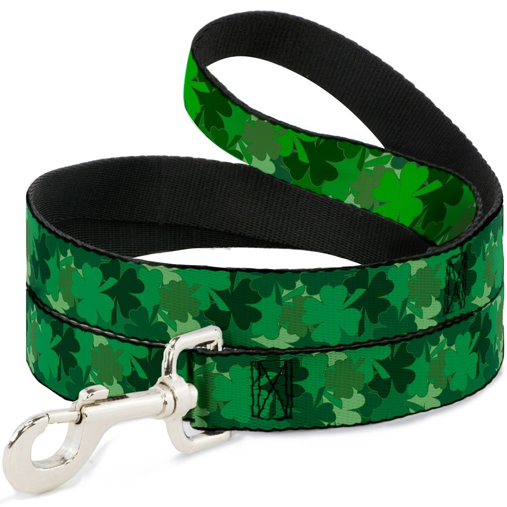 6Ft. Long  1.0 Inches wide Regular Buckle-Down  St. Pat's Stacked Shamrocks Greens  Dog Leash, 6'