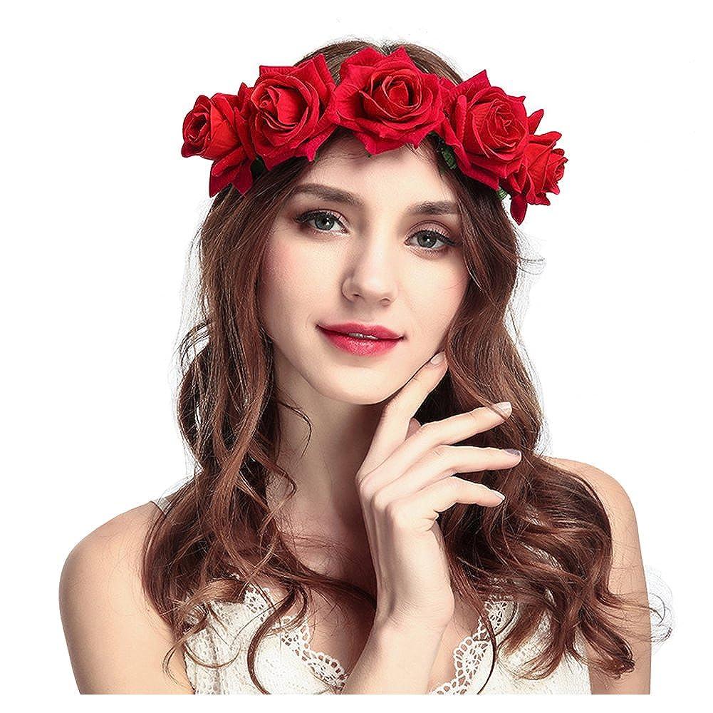 keland Fleur Serre Tête Accessoire Bandeau Cheveux Mariage Cérémonie Plage Voyage Couronne de Fleur Tête Garland Pour Femmes Filles