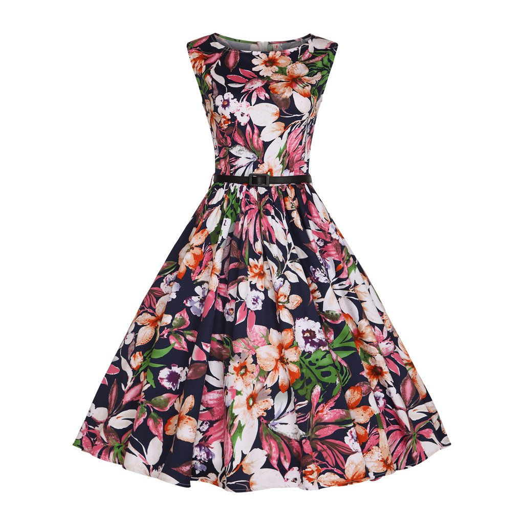minifaceminigirl Women 50s Style Classy Vintage Inspired Retro Dresses