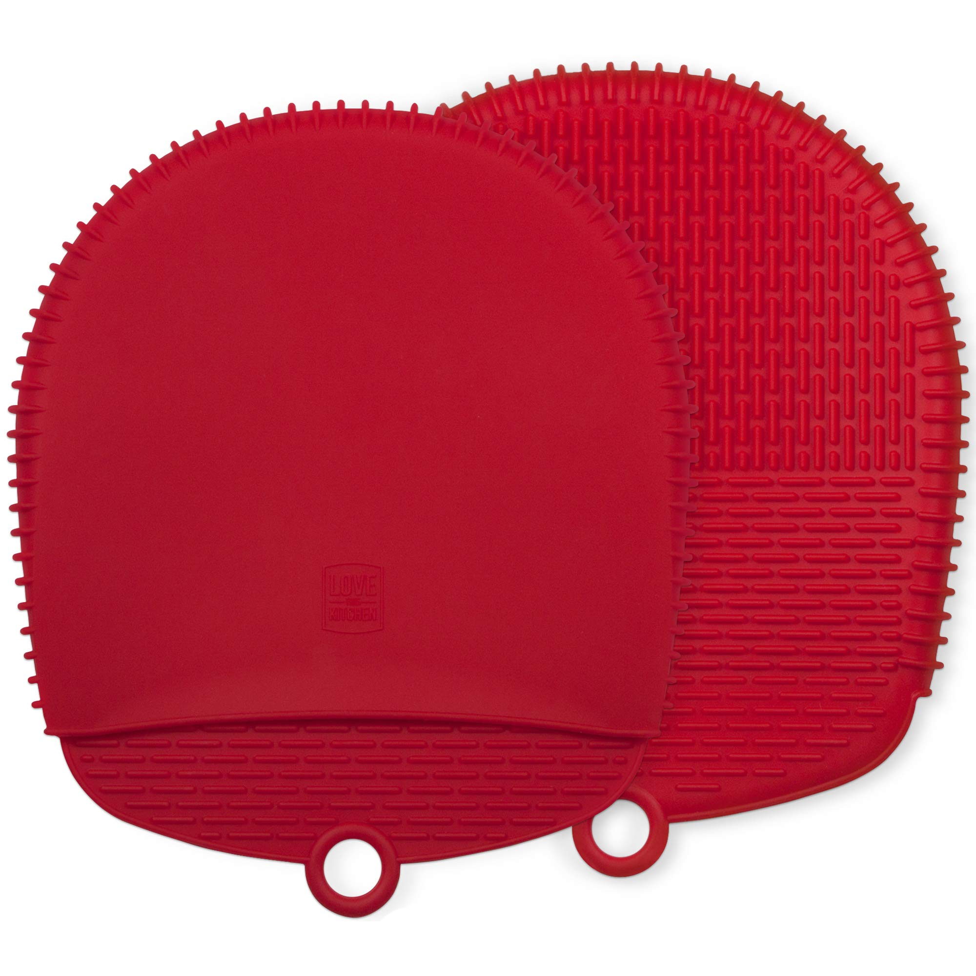 The Ultimate Pot Holders / Oven Mitts | 100% Silicone Mitt is Healthier Than Cotton & Easier to Clean, Won't Grow Mold or Bacteria | Unique Design Makes it Safe, Non-Slip, Flexible (Coral Red, 1 Pair)