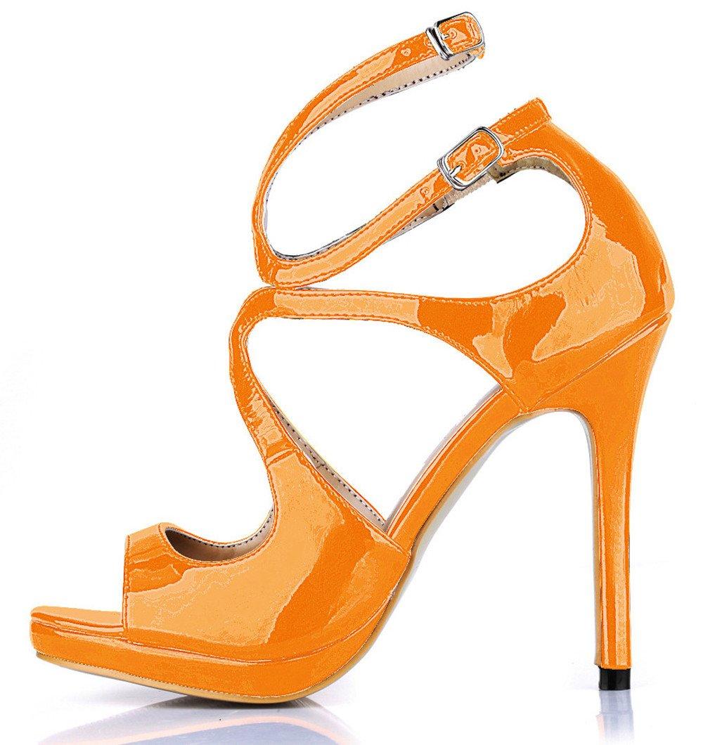 Bright Orange Couleur pearl US7.5   EU38   UK5.5   CN38 Sandales femme nouveaux produits robe de soirée d'été tempéraHommest chaussures wine rouge tape les chaussures de talon haut