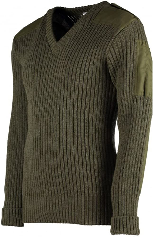 TW Kempton York Woolly Pully Vee Neck Sweater with Patches Epaulets Pen Pocket