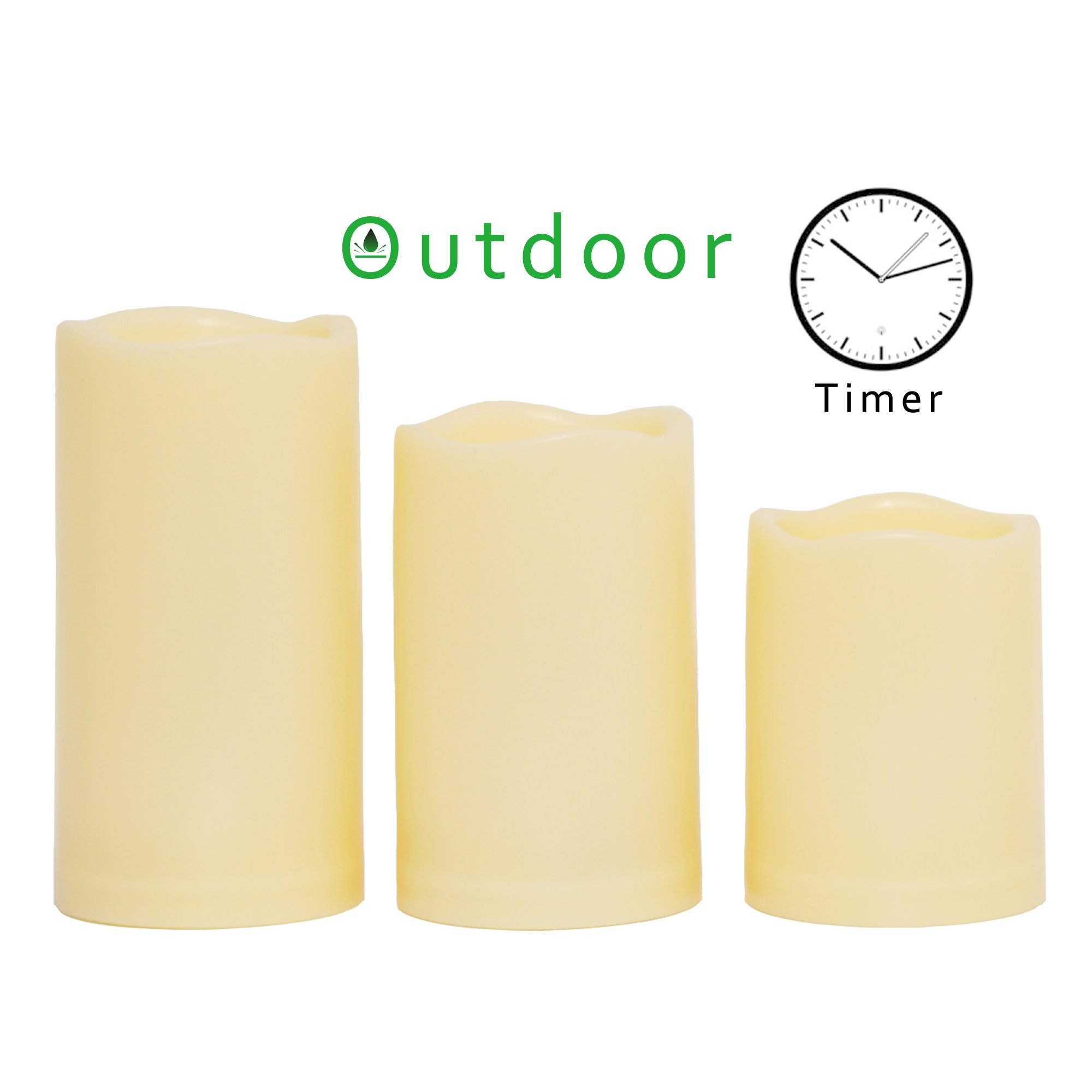 "Outdoor Flameless LED Candles with Timer – Long Lasting Waterproof Plastic Resin Realistic Flickering Battery Operated Pillar Candles Wedding Party Garden Decoration 3""x 4""/5""/6"" Waved Edge 3 PCS"