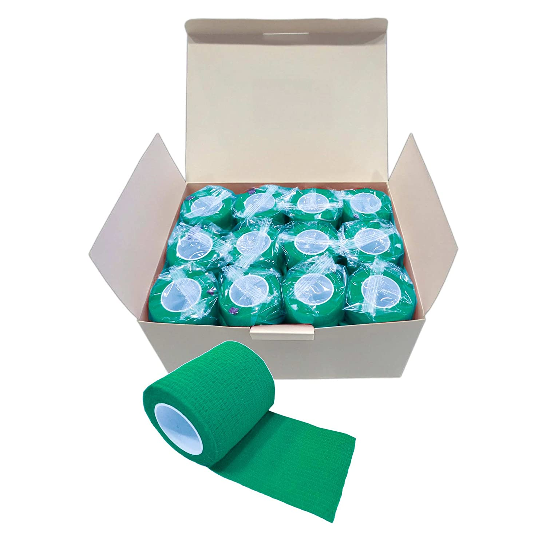 12 Haftbandagen Größe+Farbe wählbar - selbsthaftende Bandage Fixierverband selbstklebend, Farbe:black velvet, Größe:10cm Größe:10cm maDDma ® Haftbandagen
