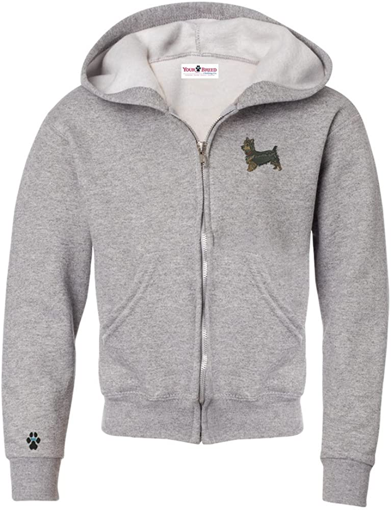YourBreed Clothing Company Yorkie Pup Cut Youth Full Zip Hooded Sweatshirt