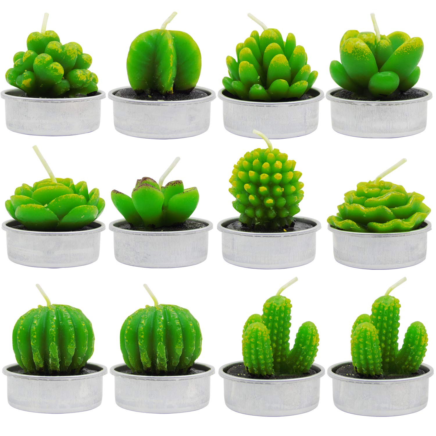 BTUTU 12pcs Cactus Tealight Candles Handmade Mini Succulent Cactus Candles for Party Favors, Home Decoration Valentine's Day Birthday Party Wedding Props
