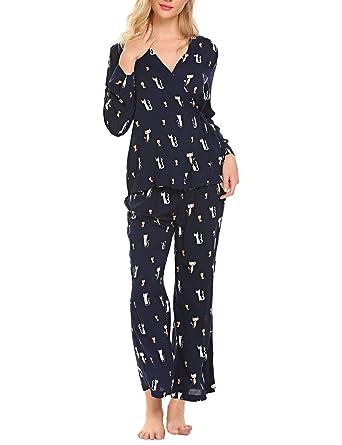 f9927532bd84a2 Pyjama Damen Lang Schlafanzug Damen Langarm Katzenmuster Zweiteiliger  Nachthemd Set Kimono Style Schlafanzugoberteil und Kuschelig Lang