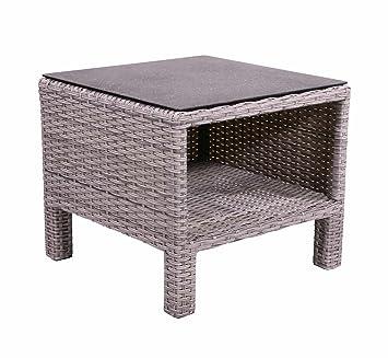 AuBergewohnlich Beistelltisch Aus Polyrattan Geflecht Grau. Wetterfester Gartentisch,  Spraystone Tischplatte Und Alu Gestell