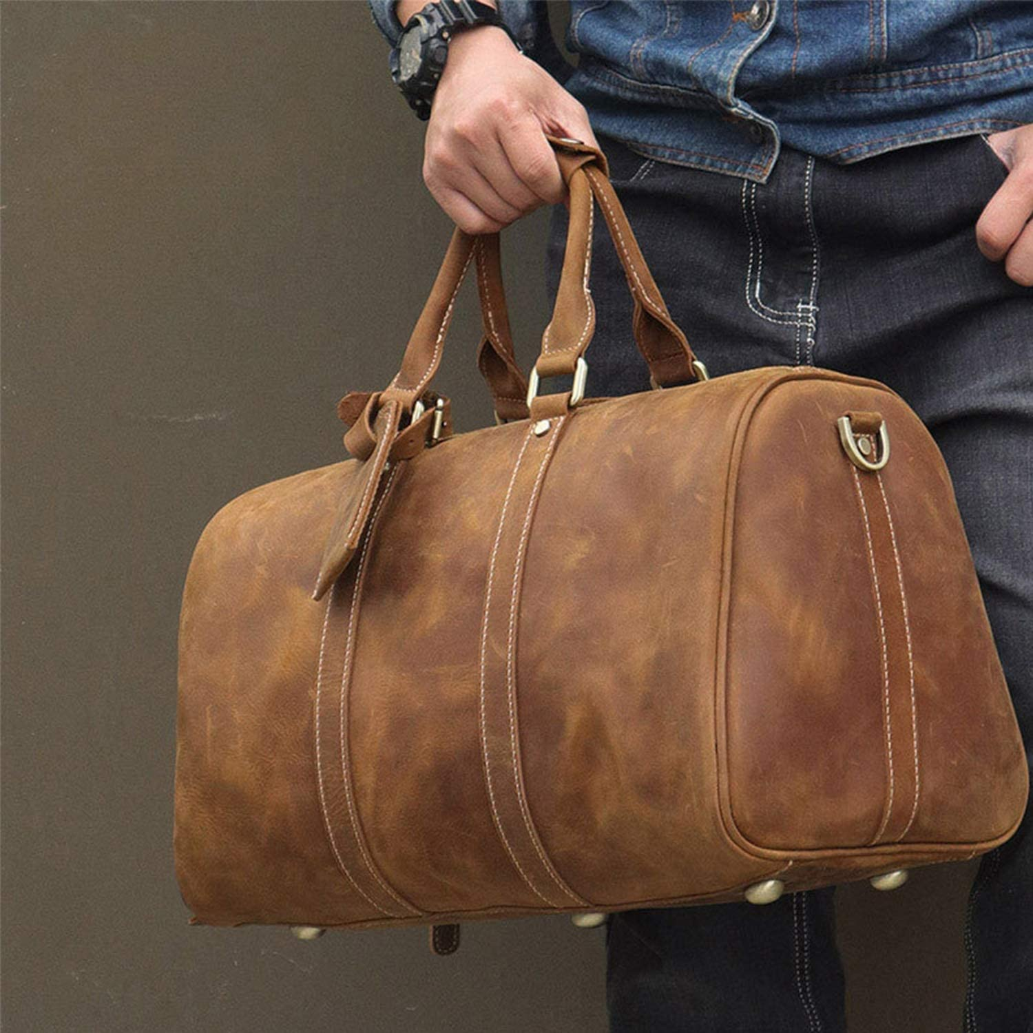 Color : Brass, Size : L XIAOF-FEN Mens Travel Bags Leather Shoes Luggage Bags Sports Casual Leather Handbags Crazy Horseskin Travel Bags Men Bags