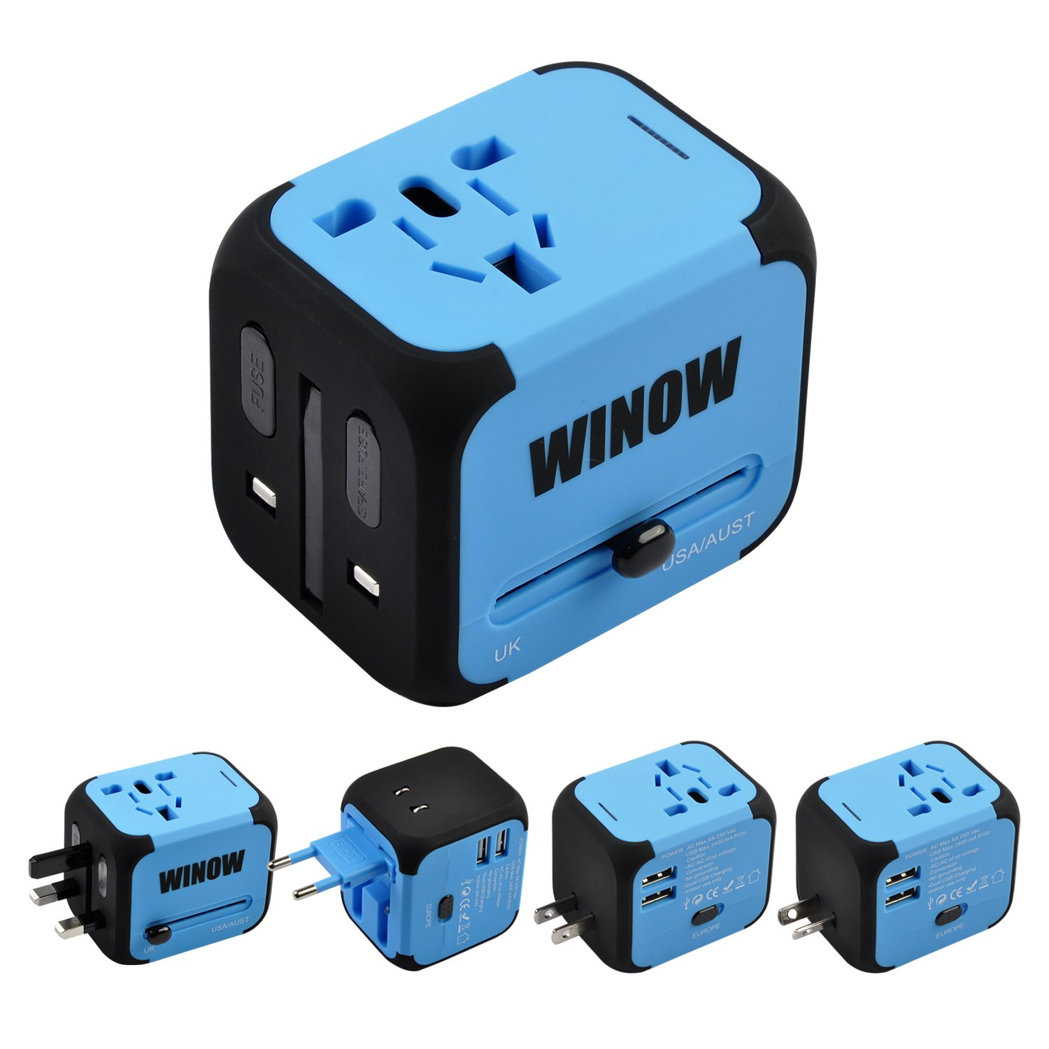 WINOW International Travel Plug Adapter, Worldwide Power AC Wall Charger with Dual USB & USA, UK, AU, EU - Great for iPhone/iPad / Laptops/Samsung / Smartphone,Spare Safty Fuse+Zipper Case (Blue)