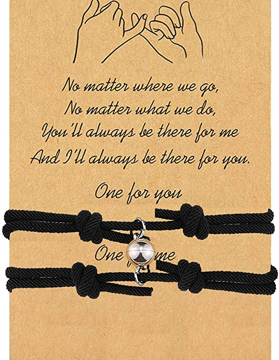 EXGOX Pinky Promise Bracelet Matching Long Distance Couple Friendship Bracelets Best Friends Sister Mother Daughter Girlfriend Birthday Gift for Women Girls 2PCS