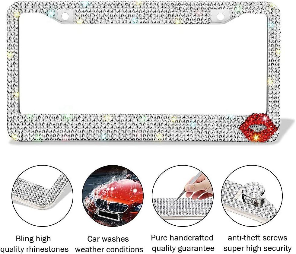 Carfond Pure Handmade 1000+pcs Premium Waterproof Bling Bling Rhinestones Stainless Steel License Plate Frame with Cute Lip Bonus Matching Screws Caps Silver+Down Corner Lip