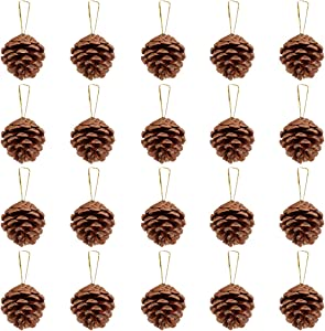 Unomor 36pcs Christmas Pine Cone Ornaments with String Natural Wood Rustic Christmas Tree Decoration Crafts Christmas Home Hanging Ornament 4-6cm