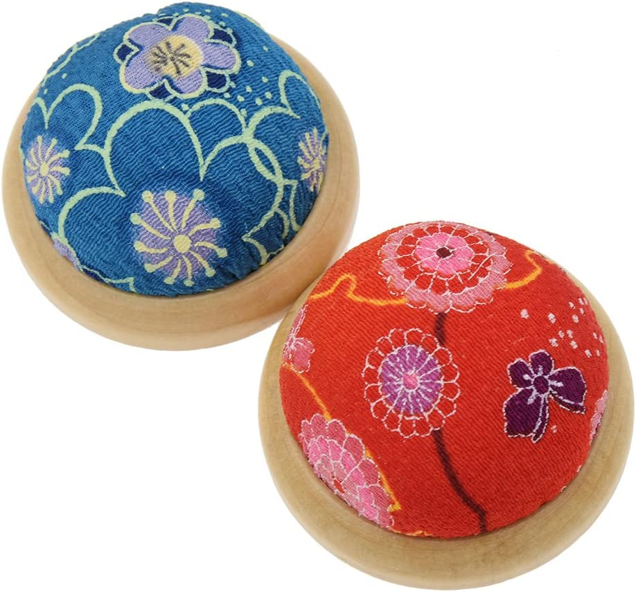 Pincushion DIY Sewing Craft Kit Color Random Ujuuu 5 Pack Ball Shaped Floral Pattern Needle Pin Cushion with Wrist Band