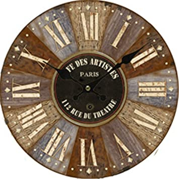 Imoerjia - Reloj de Pared Digital de Madera Envejecida, 34 cm: Amazon.es: Hogar