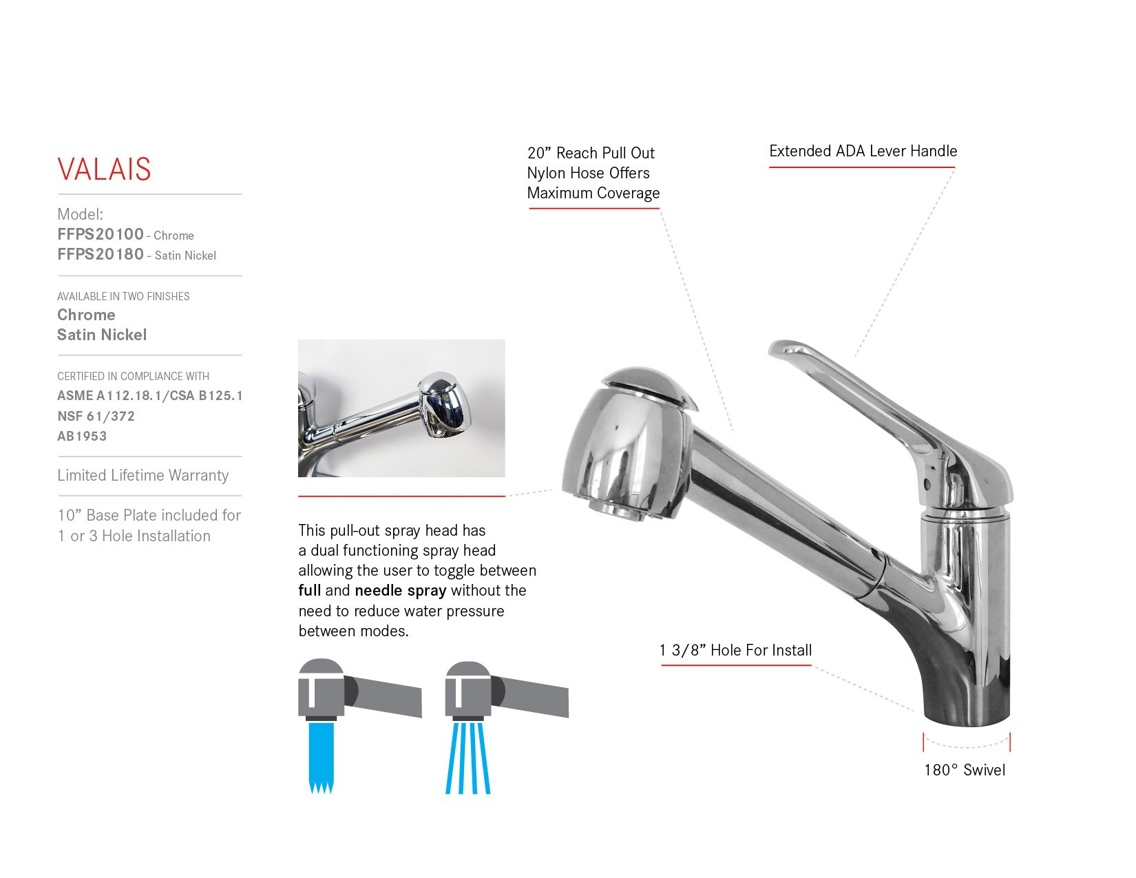 Franke FFPS20100 Valais Single Handle Pull-Out Kitchen Faucet, Chrome