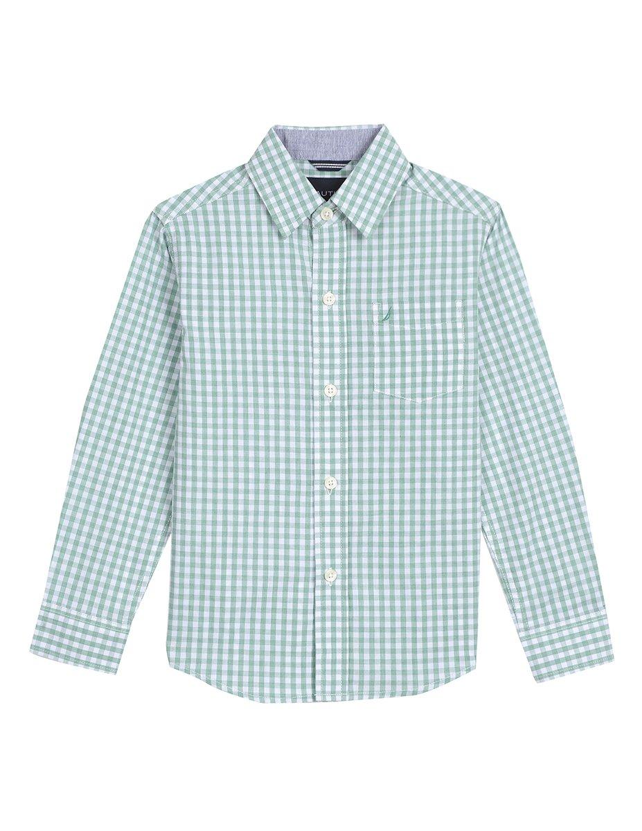 Nautica Little Boys' Long Sleeve Gingham Woven Shirt, Rios Golf Green, 7X