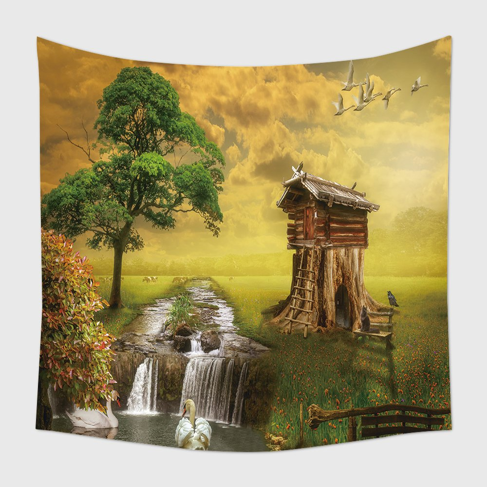 Amazon.com: Home Decor Tapestry Wall Hanging Fairy House By The Lake ...