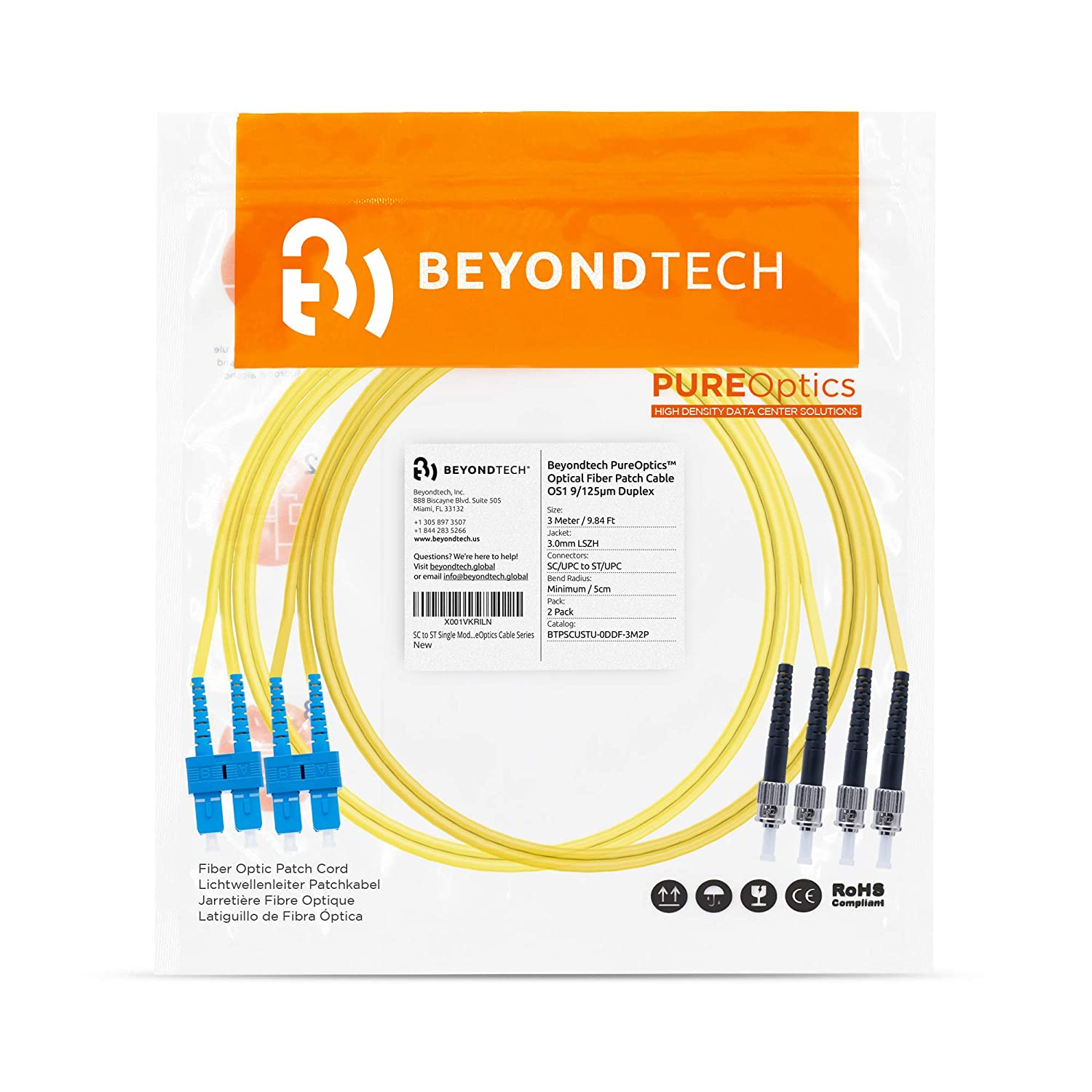 LSZH LC to LC Single Mode Fibre Patch Cable Duplex 5M 9//125um OS1 2 Pack - Beyondtech Singlemode Lead Series