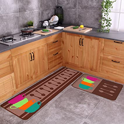 Carvapet 2 Piece Non Slip Kitchen Mat Rubber Backing Doormat Runner Rug Set Colorful Cups 19 X59 19 X31