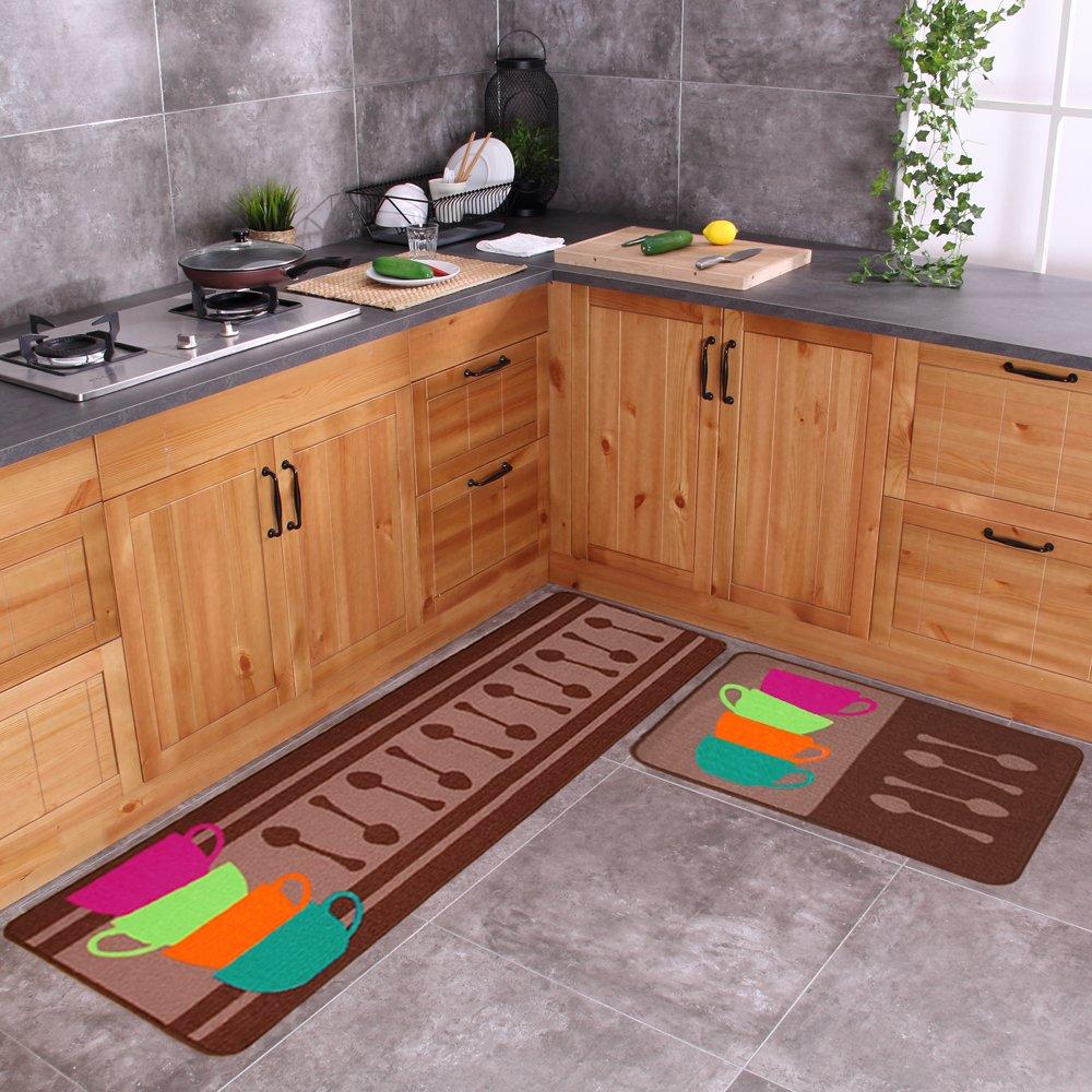 Carvapet 2 Piece Non-Slip Kitchen Mat Rubber Backing Doormat Runner Rug Set, Colorful Cups (19''x59''+19''x31'')